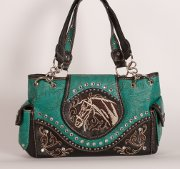Handbag with Embroidered Horse in Turquoise with Brown Trim
