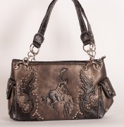 Handbag with Bronco Rider in Gray with Brown Trim