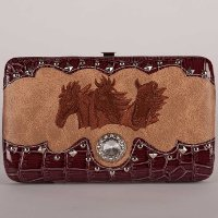 Hard Case Wallet with Embroidered Horse Heads