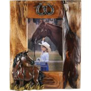 Fir Picture Frame - Vertical - Horse and horse shoes