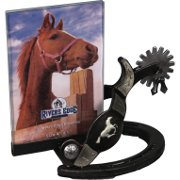 Running horse and spur picture frame