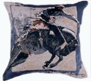 """Countdown in Blue"" Bronco Rider Tapestry Pillow"