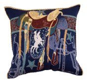 """Back in the Saddle"" Tapestry Pillow"