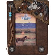Leather Picture Frame - Horses and Conchos
