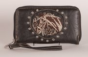 Tooled Embroidered Horse Wallet in Black