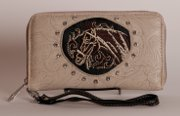 Tooled Embroidered Horse Wallet in Cream