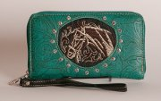 Tooled Embroidered Horse Wallet in Turquoise