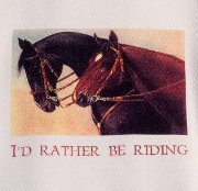"Pair of Bridled Horses ""I'd Rather be Riding"" Huck Towel"