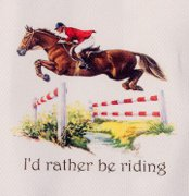 """I'd Rather Be Riding"" Jumping Horse Huck Towel"