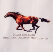 """Never Ride Faster..."" Huck Towel Featuring a Galloping Horse"