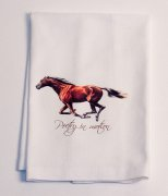 """Poetry in motion"" Featuing a running bay horse Huck Towel"
