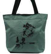 """Jumper Clearing the Bar"" Gray Tote Bag with ""Lila"" Horse"