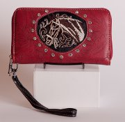 Tooled Embroidered Horse Wallet in Red