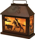 Western Themed Lamp - Roping Cowboy