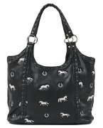 Large Embroidered Horse Handbag in Black Faux Leather