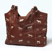 70e28818ac Large Embroidered Horse Handbag in Brown Faux Leather