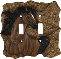 Duplex light switch cover with Bay Horse