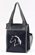 "Lunch Cooler in Black with Silver ""Lila"" Horse head"