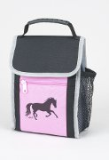 """Flapover"" Lunch Sack with Trotting horse in Black and Pink"