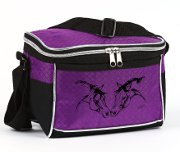 "Lunch Cooler - with Twin ""Lila"" Horse Heads in Black and Purple"