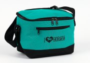 "6-Pack Cooler - Lunch Cooler with ""I &#9825 Horses"" in Teal"