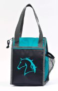"Lunch Cooler with ""Lila"" Horse head in Black and Teal"