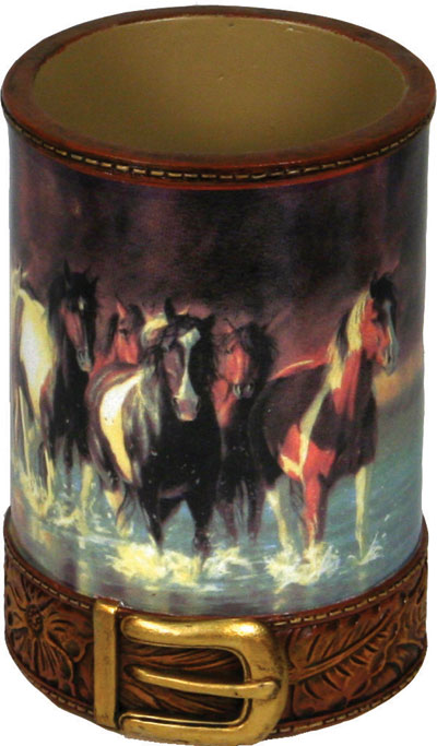 "Bathroom Tumbler - ""Rush Hour"" horse image"