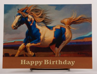 Blue And White Paint Birthday Card By Nancy Glazier