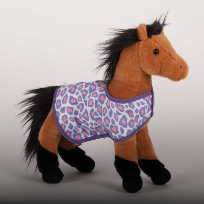 """Leopold"" Buckskin Plush Horse with Pink and Purple blanket"