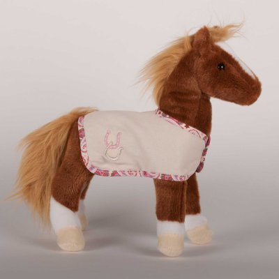 """Dido"" Chestnut Plush Horse with removable cream blanket"