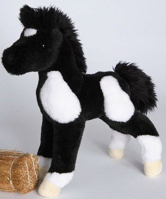 """Runner"" Black and White Foal Plush Standing Pony - 10"""