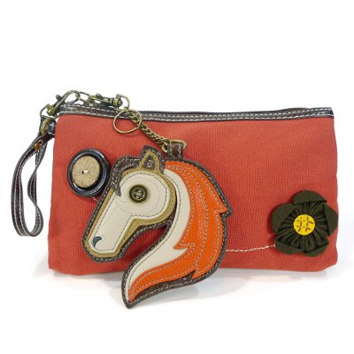Clutch with Horse Key FOB - Orange Color