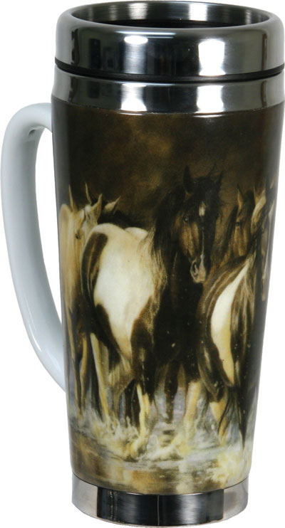 Black And White Stainless Steel Ceramic 16oz Travel Mug