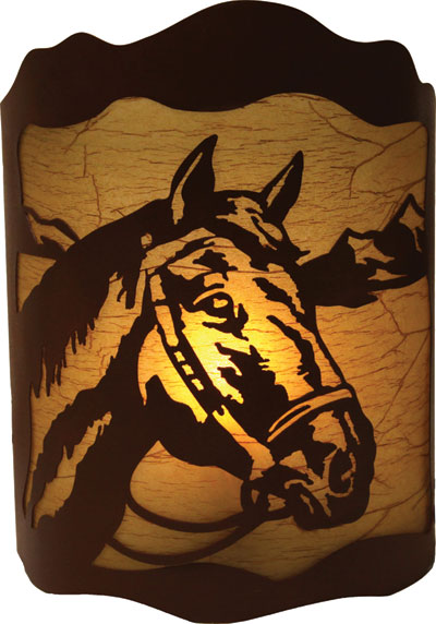 Halted Horse Against Mountains Wall Light