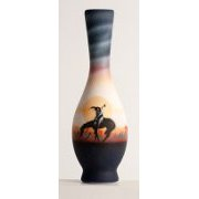 """End of the Trail"" Bud Vase with Horse Artwork"