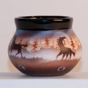 "Elk Ridge Bowl with ""Horses"" artwork by James Benally"