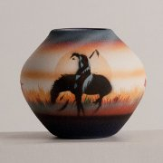 "Baby Size Moki Bowl ""End of the Trail"" Horse and warrior artwork"