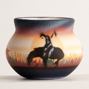 "Baby Wide Mouth Moki Bowl ""End of the Trail"" Horse and Warrior"