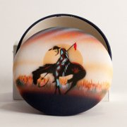 """End of the Trail"" Horse artwork on round box with lid"