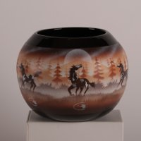 "Bowl with ""Horses"" artwork by James Benally"