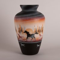 "Collector Series Navajo Vase with ""Born Free"" Horse artwork"