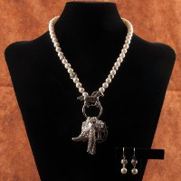 Horses and Pearls Necklace and Earring Set