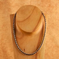Woven Horse Hair Necklace - Brown and White 18 inch