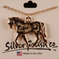 Trotting horse necklace with Gold Flake insert
