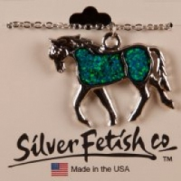 Trotting horse necklace with Aurora Opal insert