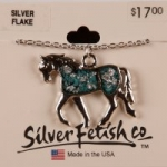 Trotting horse necklace with Silver Flake insert