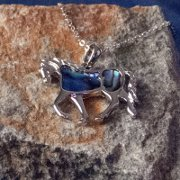 Trotting Horse Necklace with Paua Shell Inlay - Large