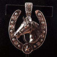 Horse with Horseshoe, Rhinestones, and Rosettes Pendant