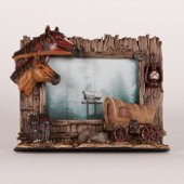 Horses with Covered Wagon Western Theme Photo Frame