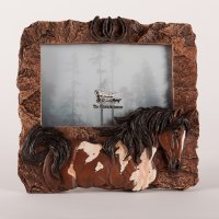Simulated Rock with Paint horse resin picture holder